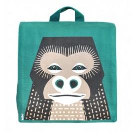 Groene rugzak met gorilla van het merk Coq & Pâte. De gorilla is ontworpen door Mibo. De rugzak heeft verstelbare schouderbanden en een klein vakje in de tas.   De tas is gemaakt van 100% biologisch katoen en is te wassen op 30C.  Maat: 23 x 26 x 7.5 cm