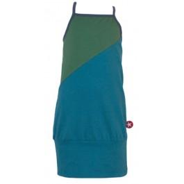 Blauw/groene jurk met spaghettibandjes van het merk Kik-Kid.