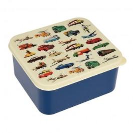 Lunchdoos met vintage cars van het merk Rexinter.   De lunchdoos is  L15x B14x H7 cm