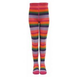Hippe roze/fuchsia/oranje/groen/paars/lila gestreepte maillot van het merk Melton uit Denemarken.