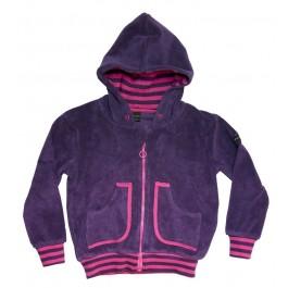 Tof paars badstof vest van het Zweedse merk Moonkids. Het vest heeft een roze bies.