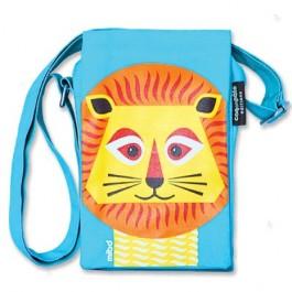 Blauwe schoudertas met leeuw van het merk Coq & Pâte.  De tas is gemaakt van 100% biologisch katoen en is te wassen op 30C.