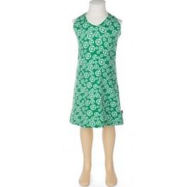 Halterjurk met groene print van het Belgische merk Froy & Dind. De jurk is gemaakt van biologisch katoen.