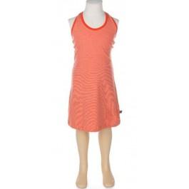 Halterjurk met smalle oranje streepjes van het Belgische merk Froy & Dind. De jurk is gemaakt van biologisch katoen.