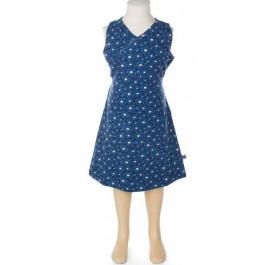 Blauwe jurk met print van het Belgische merk Froy & Dind. De jurk is gemaakt van biologisch katoen en heeft 2 touwtjes die je aan de achterkant kunt strikken.