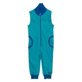 Blauwe jumpsuit zonder mouwen van het Zweedse merk Villervalla. De jumspuit sluit met een rits.