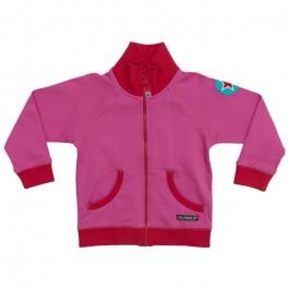 Roze vest met kangaroozak van het Zweedse merk Villervalla.