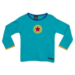Azurblauwe longsleeve met ster van het Zweedse merk Villervalla.