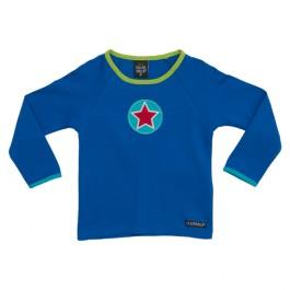 Blauwe longsleevemet ster op de borst van het Zweedse merk Villervalla.
