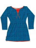 Blauwe jurk met triangleprint van het Deense merk AlbaBabY. De jurk heeft elastiek in de taille.