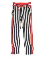 Blauw/wit gestreepte broek met rode details van het merk Claesens.