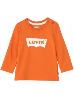 Oranje longsleeve met wit logo van het merk Levi's.