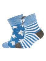 Setje van 2 paar warme badstof sokjes van het merk Melton. De ene set is blauw met sterren en de andere set heeft een berensnoet op sokjes, de oortjes steken uit.