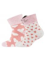 Setje van 2 paar warme badstof sokjes van het merk Melton. De ene set is roze met hartjes en de andere set heeft een poezensnoet op sokjes, de oortjes steken uit.