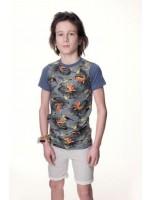 T-shirt met vogels van het stoere merk Vintage Cowboys.Het shirt heeft blauwe mouwen.