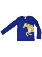 Blauwe longsleeve met gouden paard van het Belgische merk Baba-Babywear. De longsleeve is gemaakt van biologisch katoen.