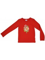 Rode longsleeve met roos van het Belgische merk Baba-Babywear. De longsleeve is gemaakt van biologisch katoen.