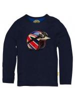 Blauwe longsleeve met helm met de Britse vlag van het Belgische merk Stones & Bones.