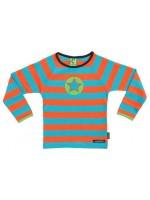 Oranje/turquoise gestreepte longsleeve met ster op de borst van het Zweedse merk Villervalla.