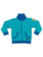 Blauw vest met kangaroozak van het Zweedse merk Villervalla.