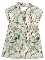 Jurk met vogels van het Belgische merk Baba-Babywear. De kleding van Baba-Babywear is gemaakt van biologisch katoen.