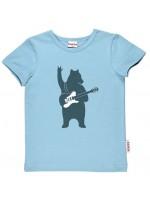 Blauw t-shirt met beer met gitaar van het Belgische merk Baba-Babywear.