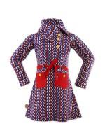 Vrolijke blauwe jurk met vogels van het Nederlandse merk 4FunkyFlavours. De jurk heeft hippe kraag en rode en gele details.  De jurk is gemaakt van 95% katoen en 5% elastane.