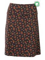 Bruine rok met bloemenprint van het hippe merk King Louie. De rok is gemaakt van 95% katoen en 5% elastane.