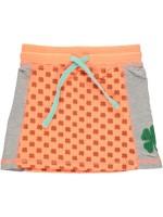 Oranje rokje met klavers van het merk Birds by D-Rak. De rok heeft grijze zijkanten.