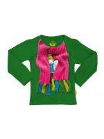 Gave groene longsleeve met sjaal op het shirt  van het hippe Belgische merk Stones & Bones.