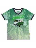 Tof t-shirt met jungleprint en Volkswagen busje van het  Belgische merk Stones & Bones. Het shirt heeft een v-hals met navy bies.  Het t-shirt is gemaakt van 100%  katoen.