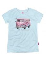 Hip ijsblauw t-shirt met Volkswagen bus met flamingo's van het  Belgische merk Stones & Bones.  Het t-shirt is gemaakt van 100%  katoen.