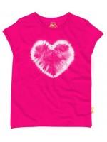 Hip knalroze t-shirt met hartje van het  Belgische merk Stones & Bones. Het shirt is onderaan lichter van kleur.   Het t-shirt is gemaakt van 100%  katoen.