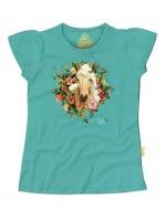 Hip zeeblauw t-shirt met paard van het  Belgische merk Stones & Bones. Het t-shirt heeft kapmouwtjes.  Het t-shirt is gemaakt van 100%  katoen.