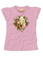 Hip roze t-shirt met paard van het  Belgische merk Stones & Bones. Het t-shirt heeft kapmouwtjes.  Het t-shirt is gemaakt van 100%  katoen.
