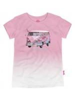 Hip roze t-shirt met Volkswagen bus met flamingo's van het  Belgische merk Stones & Bones. Het shirt is onderaan lichter van kleur.   Het t-shirt is gemaakt van 100%  katoen.