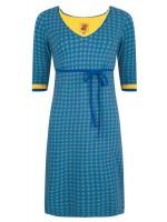 Halsoverkop jurk stip v-hals blauw