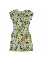 Toffe mintgroene jurk met korte mouwen en bloemen en vlinders van het Nederlandse merk Wild.