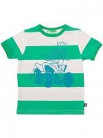 Groen/off-white gestreept t-shirt met Erik de viking op een quad van het Deense merk Danefae.