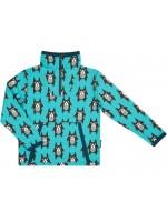 Blauwe sweater met hondjes van Zweedse merk Maxomorra. De sweater heeft een hoge kraag en sluit met een rits.