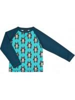 Raglan sweater met hondjes van het Zweedse merk Maxomorra. De sweater heeft effen blauwe mouwen.