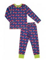 Blauwe pyjama met brandweerwagens van het Zweedse merk Maxomorra. De pyjama bestaat uit een broek en een longsleeve.   De pyjama is gemaakt van 95% GOTS gecertificeerd biologisch katoen en 5% elastane.