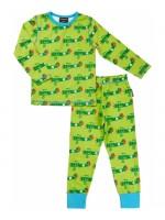 Groene pyjama met vliegtuigen van het Zweedse merk Maxomorra. De pyjama bestaat uit een broek en een longsleeve.  De pyjama is gemaakt van 95% GOTS gecertificeerd biologisch katoen en 5% elastane.