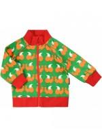 Oranje vest met eekhoorns van het Zweedse merk Maxomorra. Het vest sluit met een rits en is gemaakt van sweatstof.