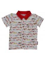 Stoere blouse met hijskraanprint van het Belgische merk Baba-Babywear.   De kleding van Baba-Babywear is gemaakt van biologisch katoen.