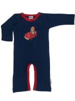 Blauwe jumpsuit met brandweerwagen van het Belgische merk Baba-Babywear.   De kleding van Baba-Babywear is gemaakt van biologisch katoen.