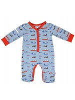 Jumpsuit met voetjes en botenprint van het Belgische merk Baba-Babywear. De kleding van Baba-Babywear is gemaakt van biologisch katoen.