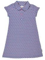Blauwe jurk met bloemenprint van het Belgische merk Baba-Babywear. De kleding van Baba-Babywear is gemaakt van biologisch katoen.
