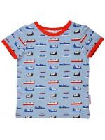 T-shirt met boten van het Belgische merk Baba-Babywear. De kleding van Baba-Babywear is gemaakt van biologisch katoen.