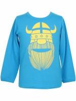 Stoere blauwe longsleeve met gele Erik de viking van het Deense merk Danefae.   De kinderkleding van Danefae is Oekotex gecertificeerd en dus vrij van schadelijke stoffen.